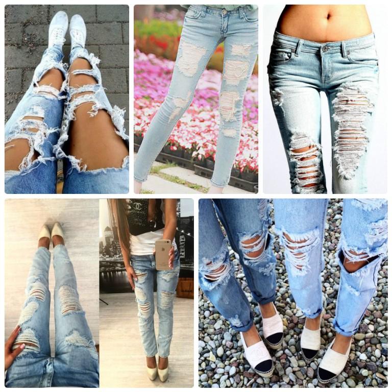 Как сделать рваные джинсы если порвалось в коленке 659