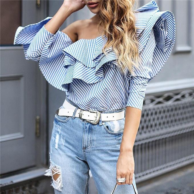 b893fd22ca28f4c Полосатая блуза с воланами 12644. Женские рубашки и блузы Другие ...