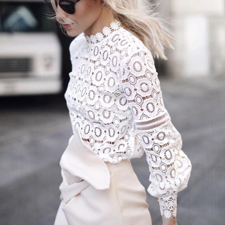 36b6d905eee Белая блуза из плотного кружева 12798. Женские рубашки и блузы ...